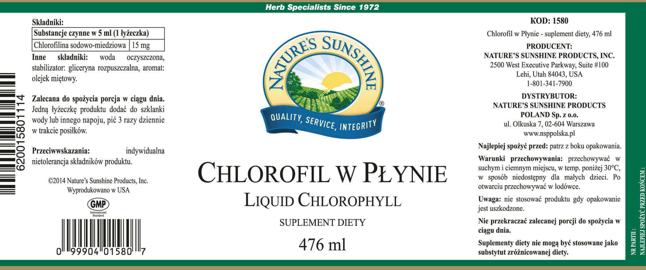 chlorofil w płynie ulotka